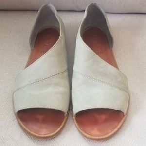 1. State CELVIN Green Asymetrical Leather Flats